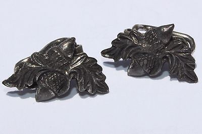 RARE Antique Victorian ACORN Silverplated White Metal Clip On Earrings Miniature