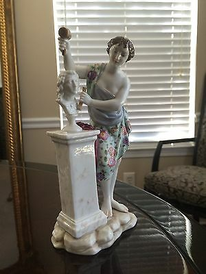 Antique Volkstedt Porcelain Lady Sculptor 19th Century ( Dresden Meissen Style)