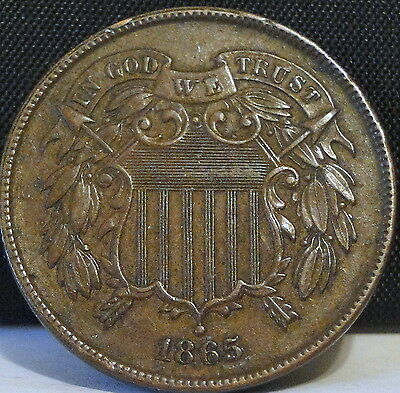 1865 Two Cent Piece - Fancy 5 Variety