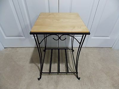 ** LONGABERGER ** Wrought Iron (END / SIDE TABLE) + WoodCrafts Maple Top **