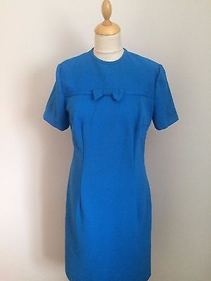 BLUE  1960s VINTAGE DRESS WITH BOW  SIZE 12