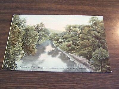 Vintage - Ableman's Wis - Bamboo River From N.w. Railway Station   - Post Card