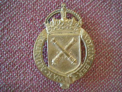 WW1 British War Munition Volunteer Fire Gilt Lapel Badge by Gaunt #1528