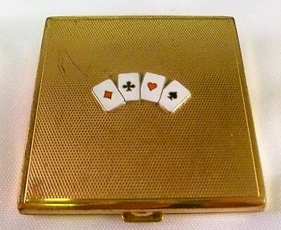 Vintage German Goldtone Compact w/ Enamel Playing Cards Before 1945