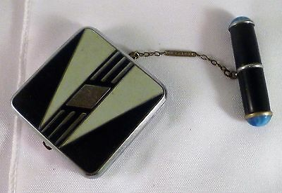 Art Deco Evans Green/Black/Silver Geometric Compact w/ Attached Lipstick Holder
