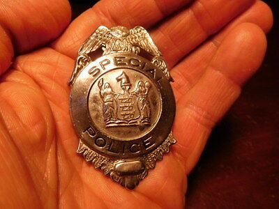 """Vintage 1930's-40's OBSOLETE New Jersey """"SPECIAL POLICE"""" eagle top shield badge"""