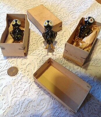 3 Vintage Glass Owls Made In Germany Democratic Republic