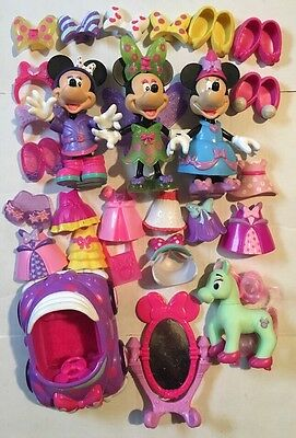 Lot Of Disney Minnie Mouse Snap N Style Dolls Clothes & Accessories 37 Pcs
