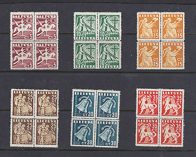 1940 Lithuania Block of 4 Set CT 5 to - CT 35 MNH Stamps  Total 24 Stamps