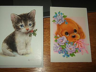 Giordano  cat kitten Unused blank Greeting Card big eyes puppy postcard rene lot