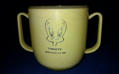 Vintage 1966 Tweety  Sippy Cup Tumbler W/Lid Two handles No Spill