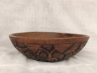 Vintage Heavy Quality Hand-crafted large Wooden Bowl_34cm Diameter
