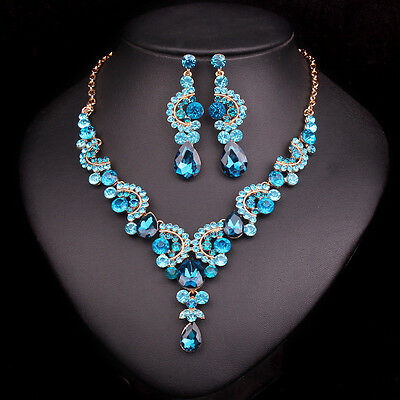 New Fashion Rhinestone Wedding Jewelry Bridal Necklace Earring Ring Bracelet Set