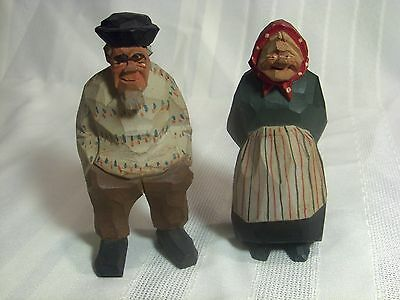 "Wooden Old Couple Figurines Rustic Folk Art 4.5"" Vintage Hand Carved & Painted"
