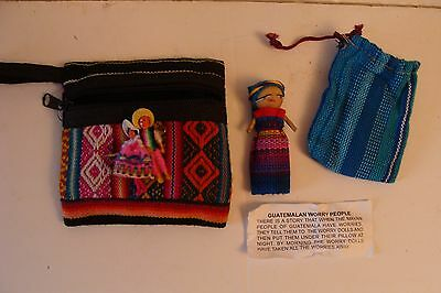 Guatemalan worry people dolls with pouches