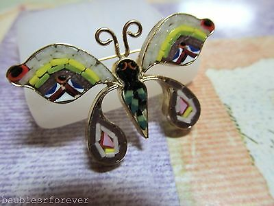 Vintage Multi Rainbow Color Micro Mosaic Pin Brooch Butterfly Italian Mosaic Art