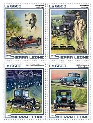 Z08 IMPERF SRL17518a SIERRA LEONE 2017 Henry Ford MNH ** Postfrisch 4 stamps