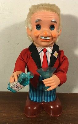 Vintage 1960's Blushing Willy Tin Bartender Toy Japan Works Yonezawa