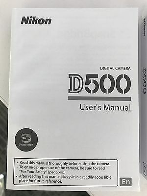 Nikon D500 500 Genuine Instruction Owners Manual D500 (English) Original NEW