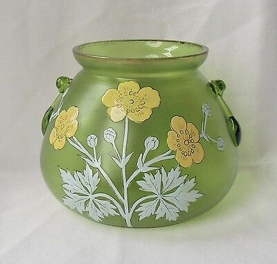 Sweet Antique Yellow Enamel Floral Green Glass Dish Fritz Heckert 4 inches High