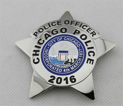United States Chicago Detective Copper Star Chest Badges 2016 Emblem Brooch Pin