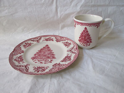 Johnson Bros OLD BRITAIN CASTLES - Pink Christmas Salad Plate & Mug