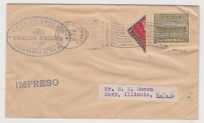 Guatemala Cover to USA 1933 Lot#24 Printed Matter Bisected Stamp