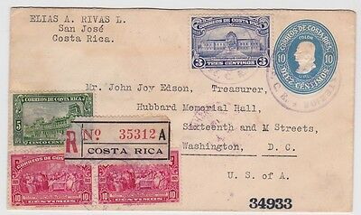 Costa Rica Uprated PSE Cover Stationery To USA 1930 Lot#41