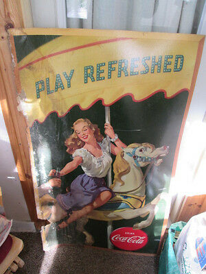 """RARE Vintage Coca Cola """"Play Refreshed""""  Poster with girl on merry go round"""