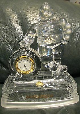 Vtg Michelin Man Tire Lead Crystal France  Novelty Clock ~Htf
