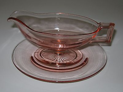 RARE Heisey #1184 Yeoman Pink Flamingo French Dressing Sauce Boat & Underplate