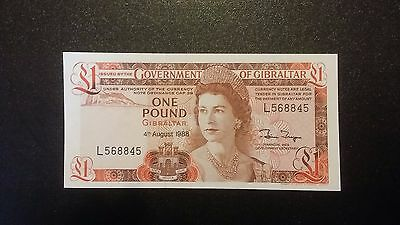One Pound Banknote Government of Giblartar 1988 crisp  UNC