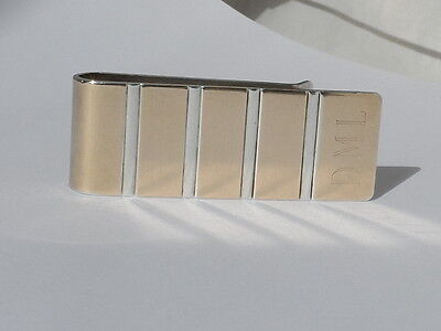 Vintage Colibri Sterling Silver and 14K Yellow Gold Monogrammed Money Clip