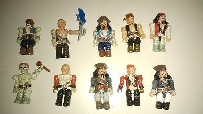 Mega Bloks Pirates Of The Caribbean Figure Lot of 10 in good condition
