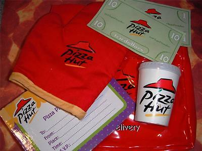 Pizza Hut Delivery Hot Pouch Soft Drink Cup Oven Mitt Play Playfood Lot RARE