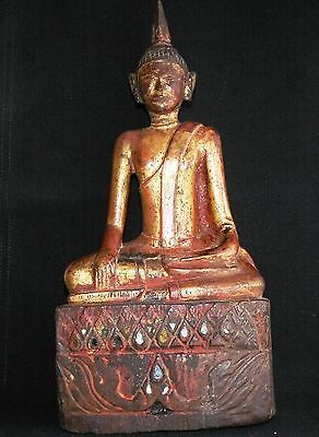 Antique 17th Century  Burmese Hand carved Wooden Sitting Buddha