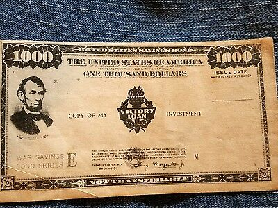 Abe Lincoln $1000 War Bond Investment Copy