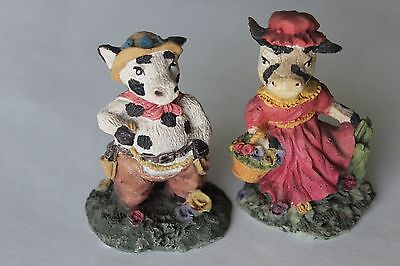 Set of 2 Vintage Miniature Funny Cow Figurine Hand  Painted CUTE