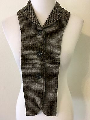 MIU MIU Wool Plaid Collar Dickie Multi Color Greens Button Holes