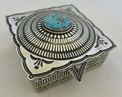 Heavy! 6+ozt Daniel SUNSHINE REEVES Box Sterling Silver Turquoise hinged NAVAJO!