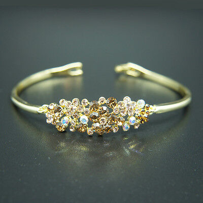 14k yellow Gold plated with Swarovski crystals brilliant bangle bracelet