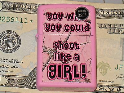 New Windproof ZIPPO LIGHTER You Wish You Could Shoot Like a Girl Pink Realtree G