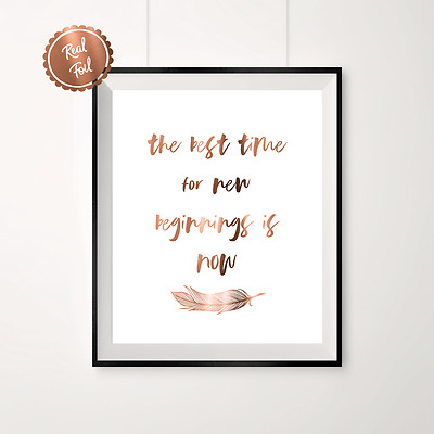 Copper print // Feather // Foil Poster // The best time // copper wall art