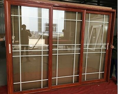 ALUMINIUM Stacker Door  Double Gazed French Design 3 Panels 2110*2730 Wood Grain