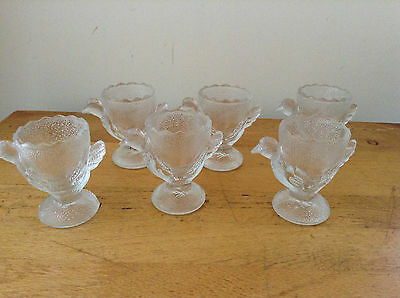 6 Frosted Glass Egg Cups