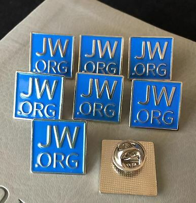 """15 JW.org Square Blue Pins - Metal w/ Butterfly Clasp 3/4"""" - Watchtower"""