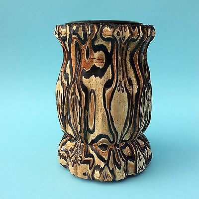 VINTAGE VASE NEW ZEALAND MAORI PONGA Fern Tree Wood Natural Art Pacific UNIQUE