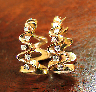 14k Yellow Gold Pierced Hoop Earrings with Diamonds~DANFRERE Signed, 15.8 grams