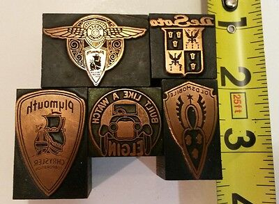 Vintage Printing Press Stamps Wood Block Lot of 5 automotive Plymouth Dodge Olds