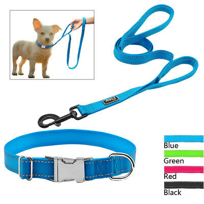 Personalized Dog Collar Leash Reflective Custom Pet ID Name Plate Tags Engraved